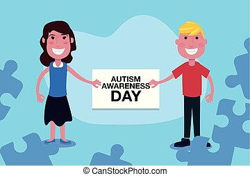 autism day campaign - autism awareness day boy and girl with...