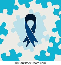 autism day campaign blue ribbon puzzles frame vector...