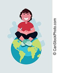 autism day campaign man sitting on world vector illustration