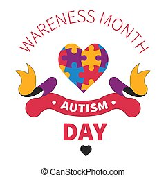 Autism day isolated icon heart of jigsaw or puzzles -...