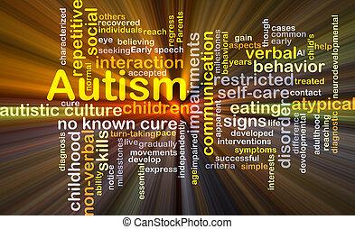 autism, fundo, conceito, glowing