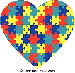 Autism Heart - Autism puzzle pieces in the shape of a heart.