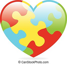 Autism Heart - A colorful heart made of symbolic autism...