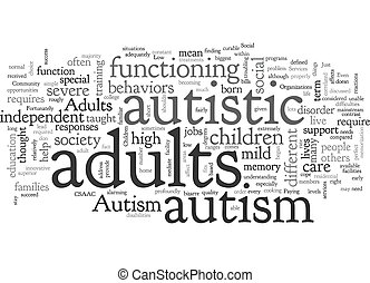 Autism In Adults text background wordcloud concept