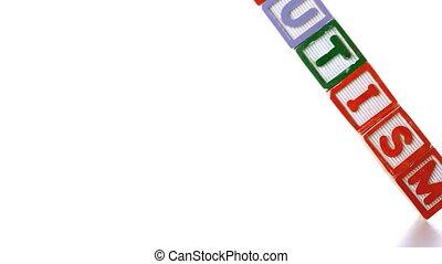 Autism letter blocks falling over