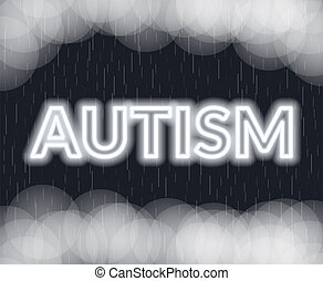 Autism neon lettering. Sad mood. Vector illustration
