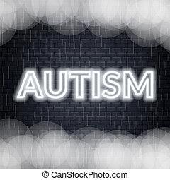 Autism neon lettering. Sad mood. Vector illustration