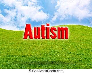 Autism of green fresh grass under blue sky