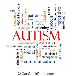 autism, palavra, nuvem, conceito