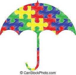 autism, pedaços, guarda-chuva