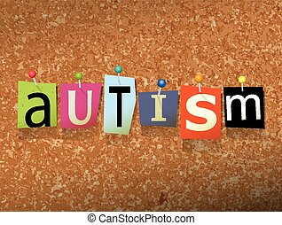 "Autism Pinned Paper Concept Illustration - The word ""AUTISM""..."
