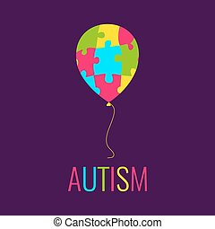 Autism poster with balloon - World Autism Day. Autism...