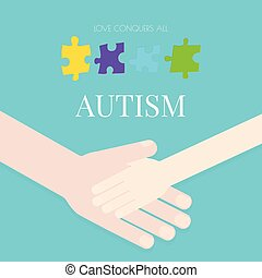 Autism poster with hands - Autism awareness poster with...