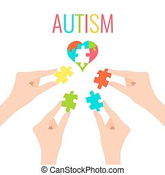 Autism poster with heart and hands