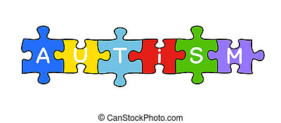Handdrawn Autism puzzle concept isolated on white.