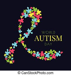 Autism puzzle poster - Autism awareness poster with a ribbon...