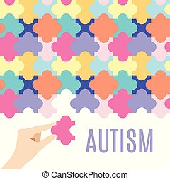 Autism puzzle poster - Autism awareness vector poster with...