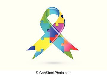 Autism puzzle ribbon - Colorful puzzle ribbon autism symbol...