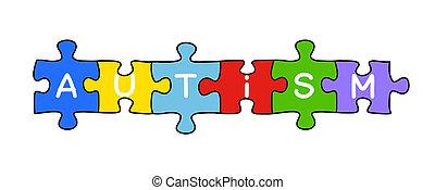 autism, quebra-cabeça, conceito