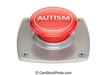 Autism red button, 3D rendering