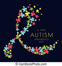 Autism ribbon poster - Autism awareness poster with a ribbon...