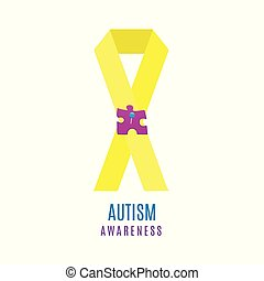 Autism ribbon poster with pinned puzzle