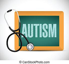 autism sign on a chalkboard illustration