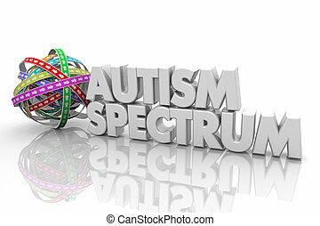 Autism Spectrum Autistic Child Range Condition Disorder Words 3d Render Illustration