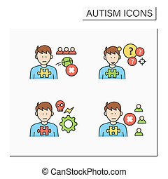 Autism spectrum disorder color icons set.Not engaging in play with peers,self-abusive behaviors, social withdrawal. Atypical behavior.Neurodevelopmental disorder concept. Isolated vector illustrations