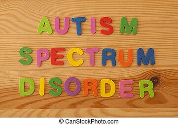 Autism Spectrum Disorder - Colourful foam letters spelling...