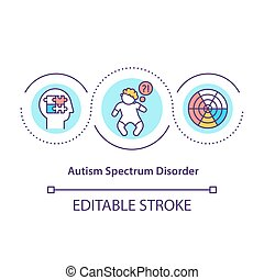 Autism spectrum disorder concept icon. Problems in social interections. Bad communication. Health problem abstract idea thin line illustration. Vector isolated outline color drawing. Editable stroke