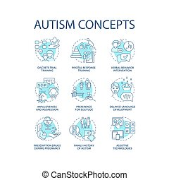 Autism spectrum disorder concept icons set. Developmental disabilities idea thin line color illustrations. Impulsiveness and aggression. Vector isolated outline drawings. Editable stroke