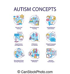 Autism spectrum disorder concept icons set. Developmental disabilities idea thin line color illustrations. Verbal behavior intervention. Vector isolated outline drawings. Editable stroke