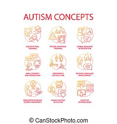 Autism spectrum disorder concept icons set. Developmental disabilities idea thin line color illustrations. Preference to solitude. Delayed language development. Vector isolated outline drawings