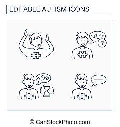 Autism spectrum disorder line icons set. Abnormal body posturing, voice tone, speaking problem, flat speech. Neurodevelopmental disorder concept. Isolated vector illustration.Editable stroke