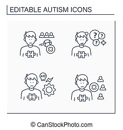 Autism spectrum disorder line icons set. Not engaging in play with peers, self abusive behaviors, social withdrawal.Neurodevelopmental disorder concept. Isolated vector illustration.Editable stroke