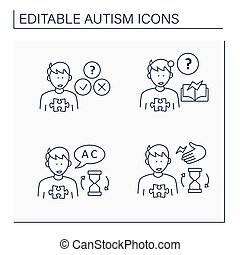 Autism spectrum disorder line icons set. Socially awkward, learning disability, repeating words, phrases, noises. Neurodevelopmental disorder concept. Isolated vector illustration. Editable stroke