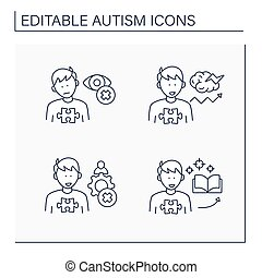 Autism spectrum disorder line icons set.Inappropriate social interaction, eye contact avoidance, focus on one topic.Neurodevelopmental disorder concept. Isolated vector illustration.Editable stroke