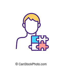 Autism spectrum disorder RGB color icon. Kid, adult with lifelong developmental disabilities. Isolated vector illustration. Person with neurodevelopmental conditions simple filled line drawing