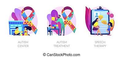 Autism spectrum disorder, neuroontogenetic disease, mental development lag. Autism center, autism treatment, speech therapy metaphors. Vector isolated concept metaphor illustrations.