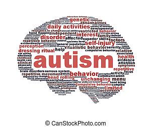 autism, symbole, isolé, conception, blanc