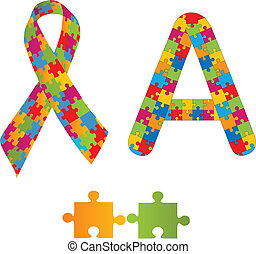 Autism awareness ribbon and letter A as autism spectrum disorders' symbol. Vector illustration.