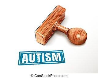 autism, szöveg, és, bélyeg