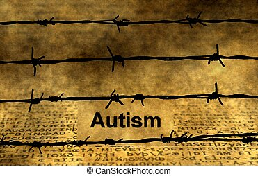 Autism text against barbwire