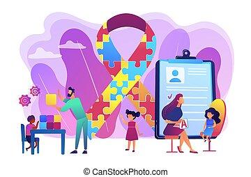 Autism therapy concept vector illustration - Autism spectrum...