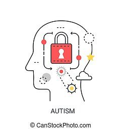 Autism vector illustration concept. - Autism vector flat...