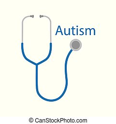 autism word and stethoscope icon- vector illustration