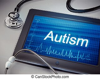 autism word display on tablet over table