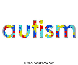 Autism Word Puzzle Piece Background Symbol Hope Research -...
