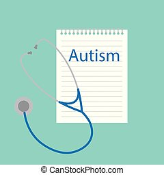 autism written in a notebook- vector illustration